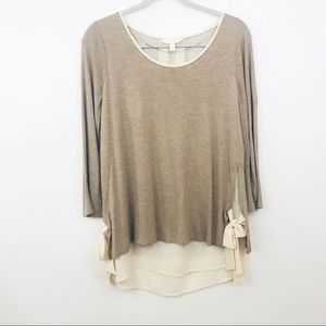 LC Lauren Conrad Knit Top Layered Bow Large